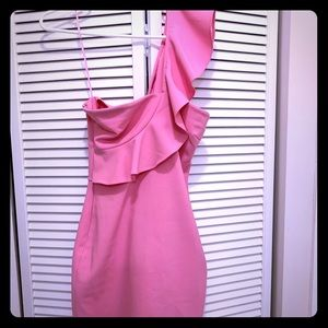 Likely pink one shoulder dress
